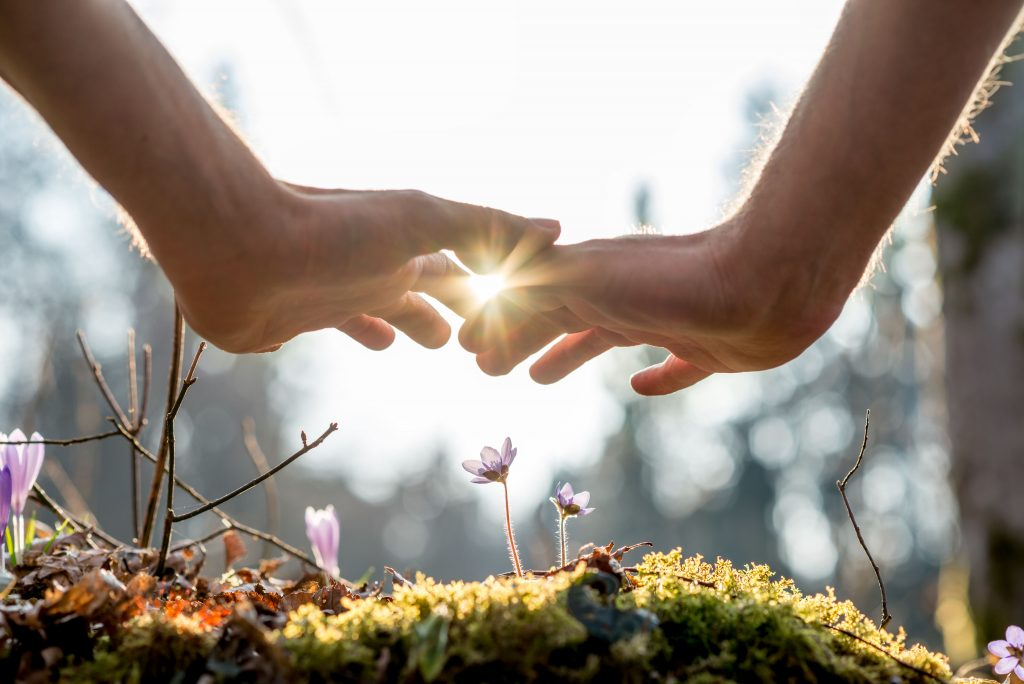 Two hands graze each other at sunrise depicting a new beginning and how alcoholism therapy can set you on a new life course after alcohol rehab.